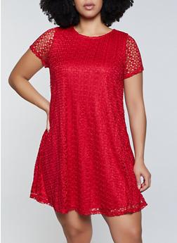 Plus Size Lace Swing Dress - 8475075221045