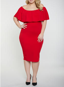Plus Size Ruffled Off the Shoulder Dress - 8476015995390