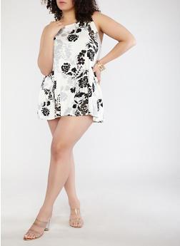 Plus Size Floral Soft Knit Trapeze Dress - 8476020620634