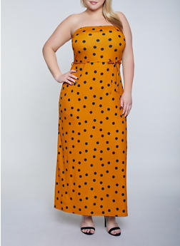 Plus Size Polka Dot Tube Maxi Dress - 8476020621284