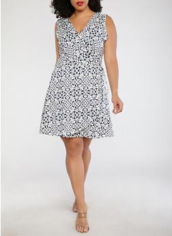 Plus Size Printed Faux Wrap Dress - 8476020621652