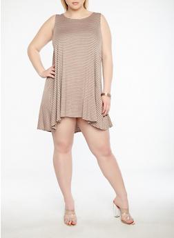 Plus Size Striped Swing Dress - 8476020621696