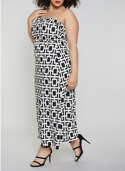 Plus Size Geometric Print Maxi Dress - 8476020622244