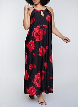 Plus Size Flower Keyhole Maxi Dress - 8476020622263