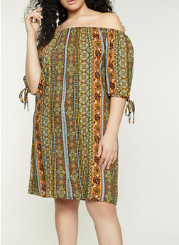 Plus Size Mixed Print Off the Shoulder Dress - 8476020622297