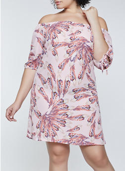 Plus Size Feather Print Off the Shoulder Dress - 8476020622946