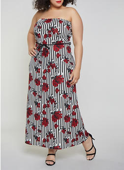 Plus Size Striped Rose Maxi Dress - 8476020623248