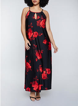 Plus Size Rose Print Maxi Dress - 8476020623263
