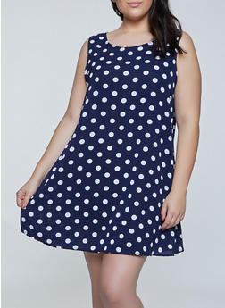 Plus Size Sleeveless Polka Dot Trapeze Dress - 8476020623565