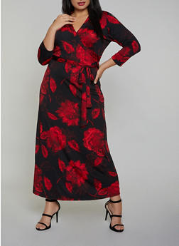 Plus Size Floral Faux Wrap Maxi Dress - 8476020623604