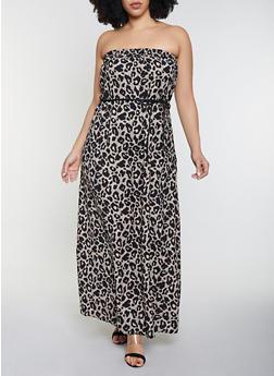 Plus Size Animal Print Maxi Dress - 8476020624044