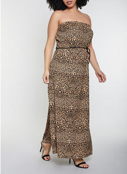 Plus Size Animal Print Maxi Dress - 8476020624044