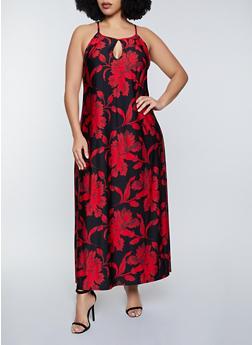 Plus Size Floral Pattern Keyhole Maxi Dress - 8476020624263
