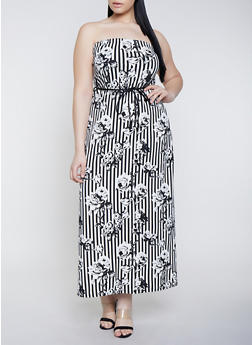 Plus Size Striped Floral Maxi Dress - 8476020624284