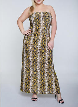 Plus Size Snake Print Tube Maxi Dress - 8476020624482