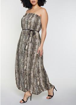 Plus Size Snake Print Maxi Dress - 8476020625248