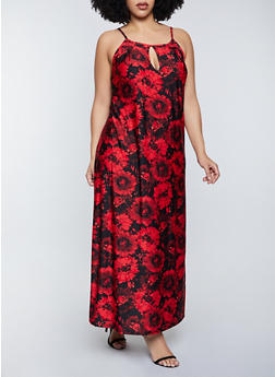 Plus Size Floral Print Keyhold Maxi Dress - 8476020625263