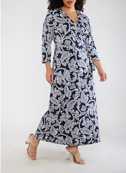 Plus Size Paisley Faux Wrap Maxi Dress - 8476020625561