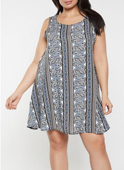 Plus Size Printed Shift Dress - 8476020625783