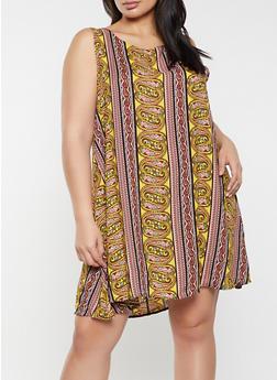Plus Size Printed Shift Dress - 8476020625783