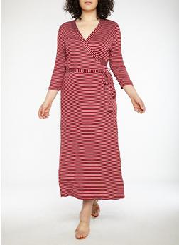 Plus Size Striped Faux Wrap Maxi Dress - 8476020626056