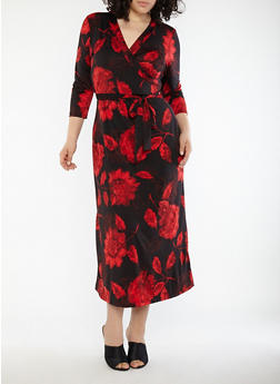 Plus Size Faux Wrap Floral Maxi Dress - 8476020626206