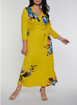 Plus Size Floral Faux Wrap Tie Waist Maxi Dress - 8476020626209