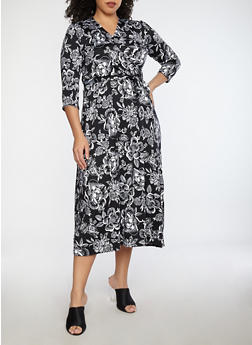 Plus Size Floral Faux Wrap Maxi Dress - BLACK - 8476020626260