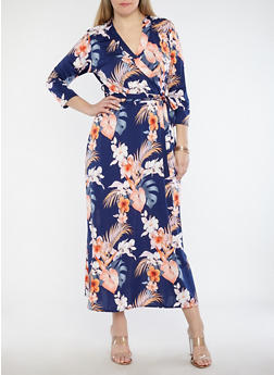 Plus Size Floral Faux Wrap Maxi Dress - IVORY - 8476020626260