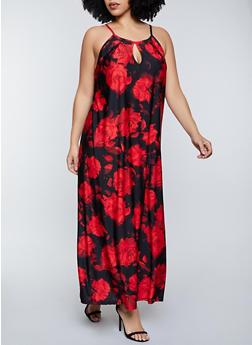 Plus Size Floral Keyhole Maxi Dress - 8476020626263
