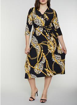 Plus Size Printed Faux Wrap Dress - 8476020626756