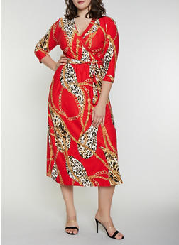 Plus Size Printed Faux Wrap Dress - 8476020626756