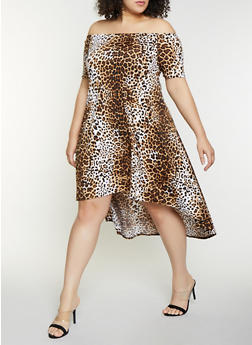 Plus Size Animal Print Off the Shoulder Dress - 8476020628735