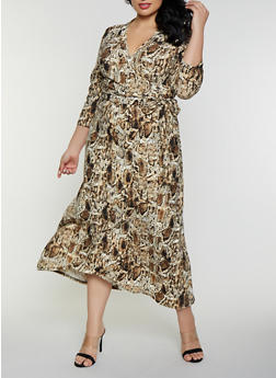Plus Size Snake Print Faux Wrap Maxi Dress - 8476020629062