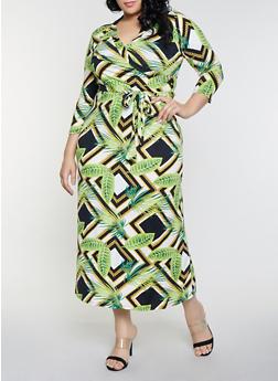 Plus Size Square Chain Faux Wrap Maxi Dress - 8476020629244