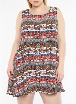 Plus Size Border Print Tank Dress - 8476020629960
