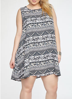 Plus Size Border Print Tank Dress - 8476020629960