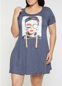 Plus Size Nice Graphic Ribbon Striped T Shirt Dress - 8476029891020
