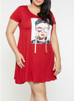 Plus Size Nice Graphic Ribbon Striped T Shirt Dress - 8476029891020
