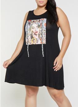 Plus Size Love Graphic Tank Dress - 8476029891023