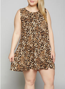 Plus Size Leopard Trapeze Dress - 8476029891032