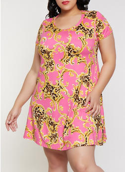 Plus Size Leopard Frame Print Trapeze Dress - 8476029891036
