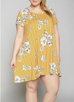 Plus Size Striped Floral Trapeze Dress - 8476029891038