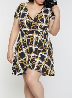 Plus Size Black Chain Print Faux Wrap Dress - 8476029891801