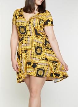 Plus Size Border Print Faux Wrap Dress - Multi - Size 1X - 8476029893803