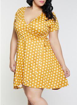 Plus Size Faux Wrap Polka Dot Dress - 8476029896803
