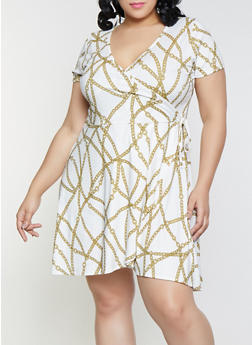 Plus Size Chain Print Faux Wrap Dress - 8476029898301