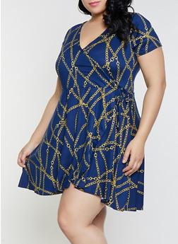 Plus Size Chain Print Faux Wrap Dress - 8476029898301