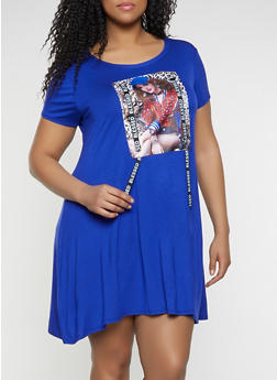 Plus Size Blessed Ribbon Model Graphic T Shirt Dress - 8476029899301