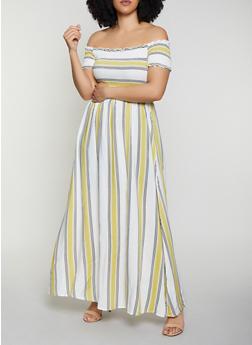 Plus Size Striped Off the Shoulder Maxi Dress - 8476051067704